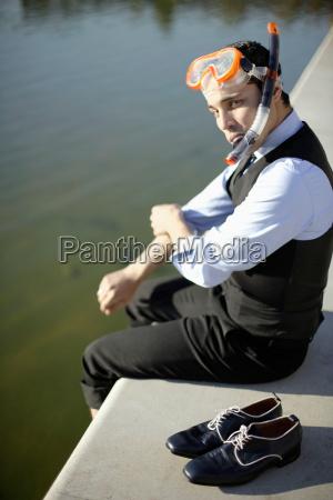 business man in mask snorkel