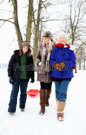 a family out for a walk
