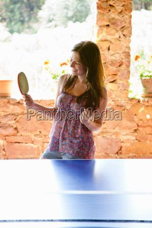 frau, spielt, tischtennis - 18361838