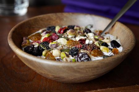 close up of bowl of muesli