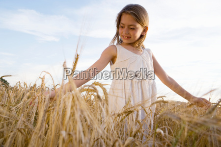 young girl walking in corn field