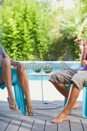 couple on a wooden terrace by