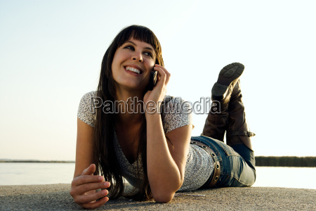 girl talking on mobile phone by