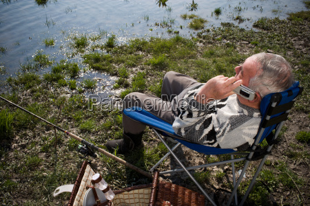 senior adult man fishing