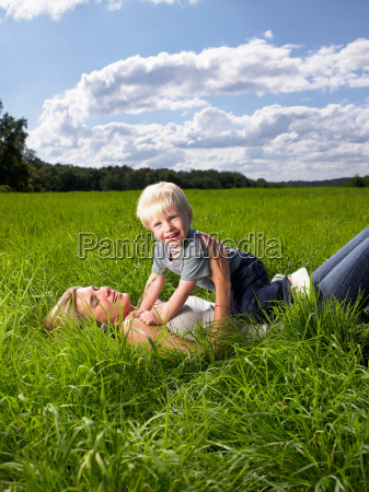 mother and son playing in a