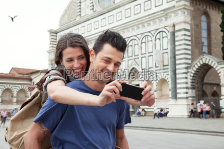 young couple outside santa maria novella