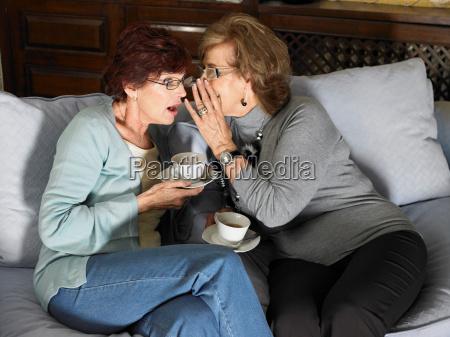 two senior adult women gossiping
