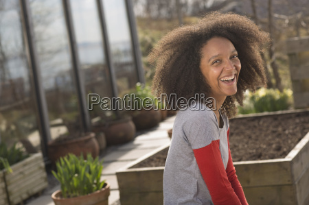 mid adult woman laughing portrait