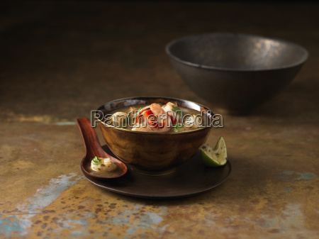 bowl of tom yum soup with