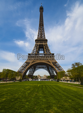 view of eiffel tower from park