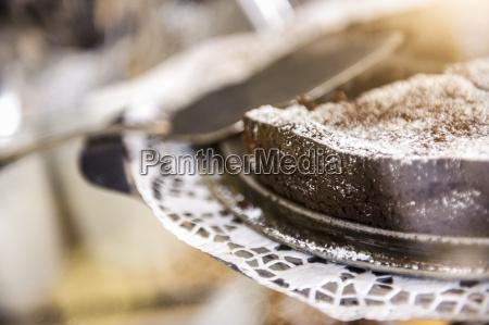 close up of chocolate cake on