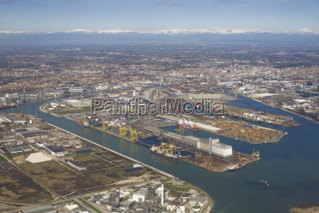 aerial view of ports and industry