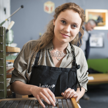 portrait of young woman with letterpress
