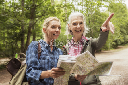 two female friends on hiking trail