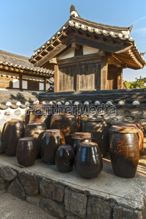 traditional kimchi pots at the hangok