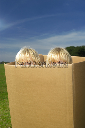 boys looking out of box