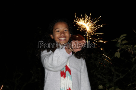 young girl with sparkler
