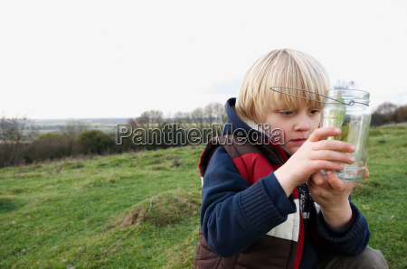 young boy inspecting jar of insects