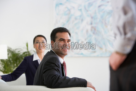 business colleagues in a lobby area