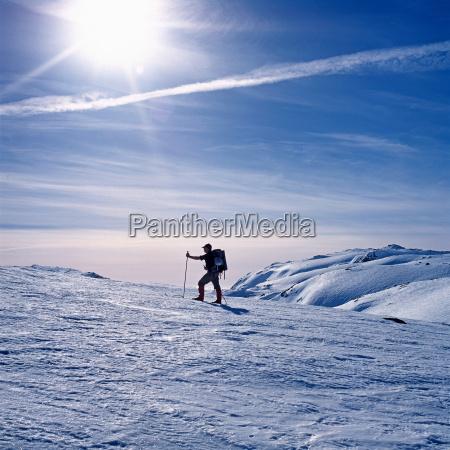 man skiing on mountain