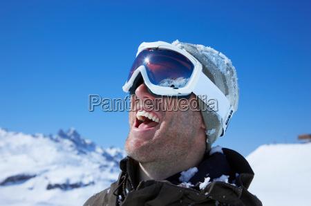 portrait of man wearing ski goggles