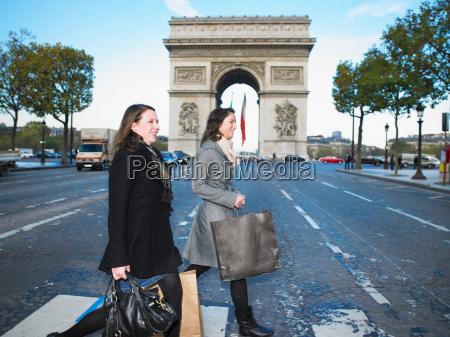 women walking on champs elysees