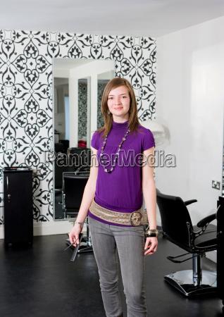 portrait female hairdresser
