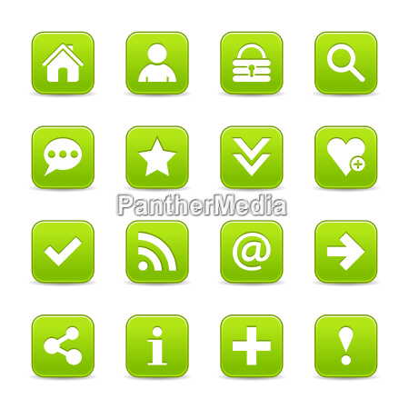 green satin icon web button with