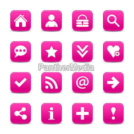 pink satin icon web button with
