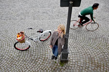 woman having a break while shopping