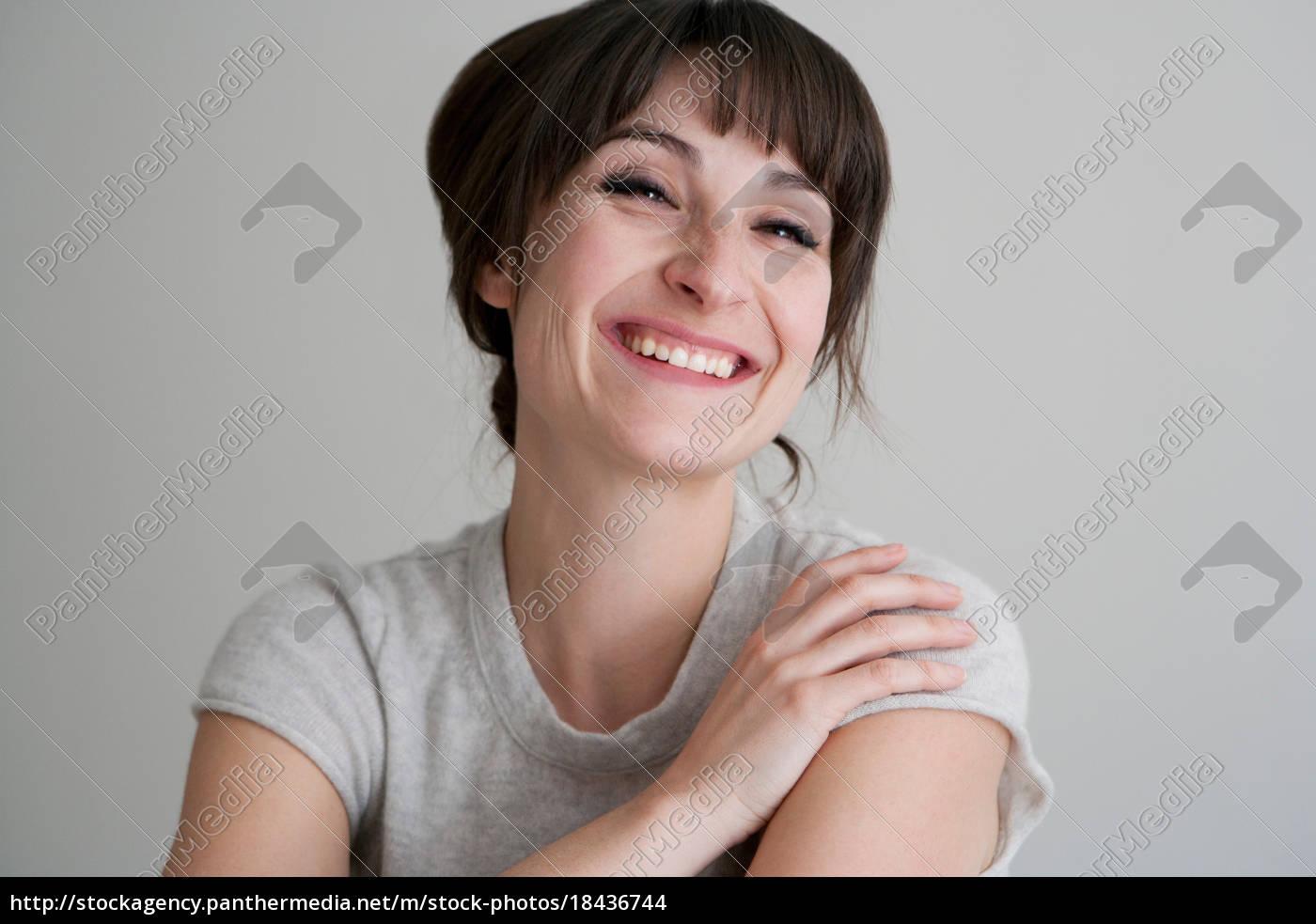 nahaufnahme, der, lächelnden, frau - 18436744