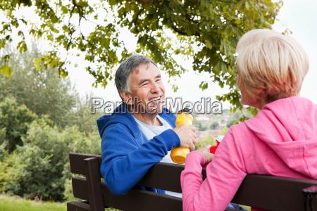 mature couple having exercise break