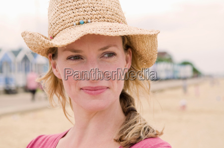 portrait of happy women on beach