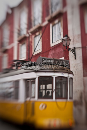 blurred view of streetcar on city