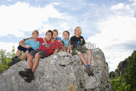 group of children on top of