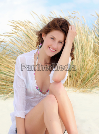 young woman relaxing on a beach