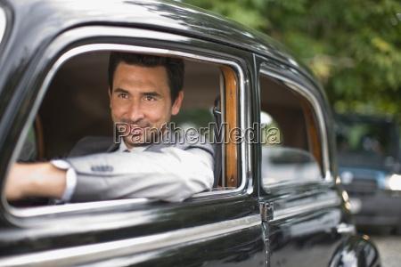 bridegroom in car