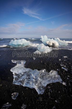 glacial ice on black sand beach