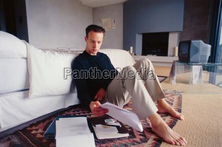 businessman working in bedroom