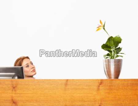 woman with a plant at a