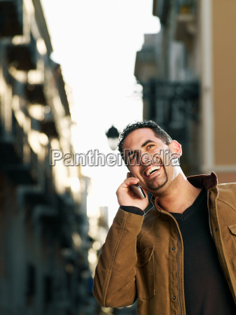 young man on mobile phone in