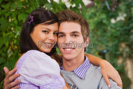 man and woman embracing