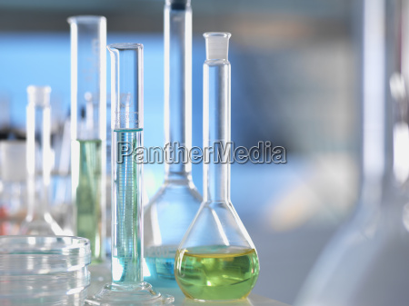 laboratory glassware on lab bench during