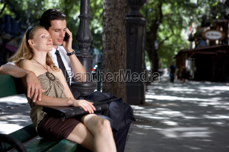 couple outdoors embracing