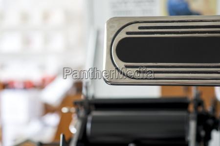 detail, der, traditionellen, buchdruckmaschine, in, der - 18479592