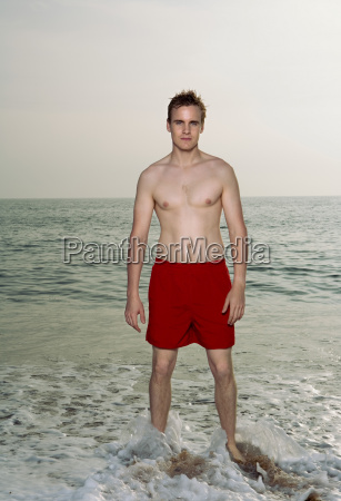 man wearing a swimming costume