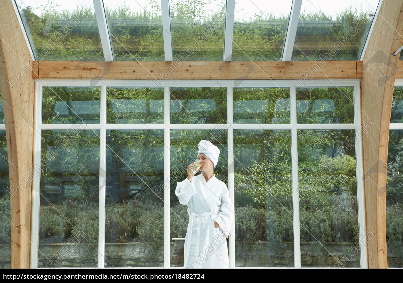 woman, wearing, robe, by, pool - 18482724