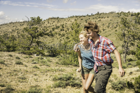 young man and girlfriend walking in