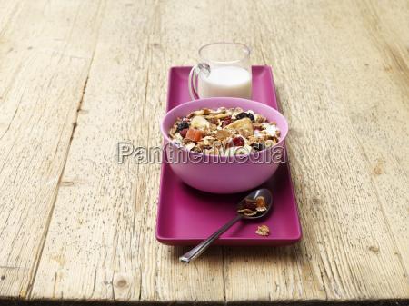 breakfast bowl of muesli with fruit