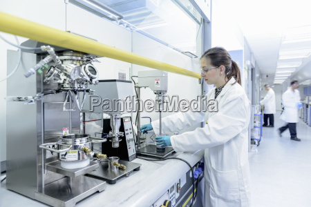scientist making lithium ion battery samples